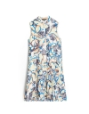 Sleeveless Abstract Print Shirt Dress