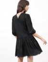 Long Sleeve Gather Shift Dress With Embroidery