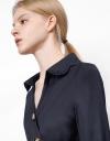 Long Sleeve Embroidered Collar Shirt Dress