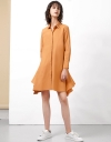 Long Sleeve Draped Shirt Dress